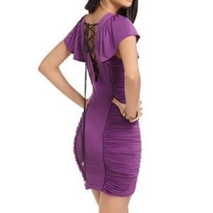 NWOT BABY PHAT LACE UP BODYCON RUCHED DRESS S